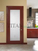 Холна интериорна врата от фурнир с релефно остъкляване
